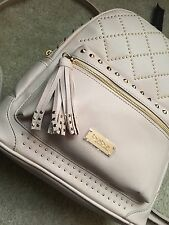 Nwt Bebe Stud Large Backpack Blush Pink Beige Quilted Diamond