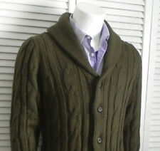 NEW Mens SZ 2XL ALPACA Olive Green Shawl Collar Cable Knit Cardigan Sweater PERU