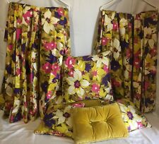 VINTAGE 60s Lined Drapes & Pillows POP ART FLORAL Mid Century Modern