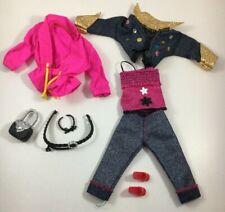 Mattel Barbie Clothing Jeans Jacket and Capris Pink top Jacket belt shoes purse