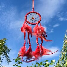New Bright Red Beaded Dream Catcher Native American Wall Hanging Mobile