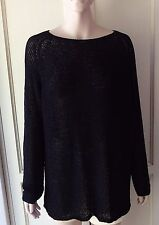 American Apparel Women's Delphine Tunic Long Sweater Black Jumper Pullover M/L