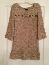 BCBG Maxazria Woman's Knit Tunic Sweter Top - Multi Browns Medium NWOT