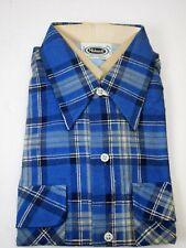 Mohawk Men's Vintage Plaid Flannel Shirt Blue Mohawk Size L 16 - 16 1/2