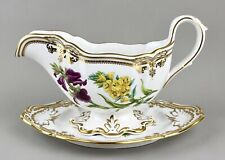 SPODE CHINA STAFFORD FLOWERS ENGLAND GRAVY SAUCE BOAT & STAND Y8519 1ST NR MINT!