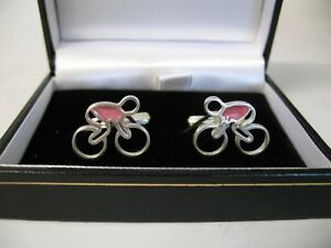 SOLID SILVER AND ENAMEL CUFFLINKS - CYCLE / BIKE DESIGN 'GIRO' PINK JERSEY
