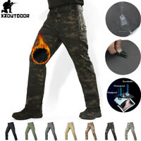 Mens Military Cargo Pants SoftShell Waterproof Tactical Combat Casual Camouflage