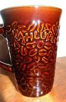 Brown Kahlua Coffee Mug Cup  Embossed Bean Tall 11 oz