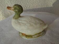 Antike originale Ente aus sehr starkem Glas/Opal und bemalt - 19.Jhd