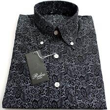 Black Paisley Pattern Men's Shirt  Vintage Button Design 100%25 Cotton Relco -NEW