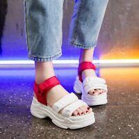 Womens Wedge High Heel Platform Sneakers Sport Shoes Open Toe Trainers Sandals
