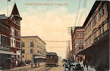 c.1910 Trolley Stores Franklin St. Looking South Tampa FL post card