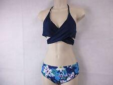 Skylove Women's Halter Navy Floral Print Push up Padded Bikini  Medium New