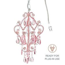 1-Light Mini Pink Crystal Chandelier Small Plug In Swag Girls Room Fixture Lamp