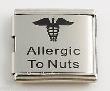 Allergic To Nuts Food Allergy Caduceus Medical Alert 9mm Italian Charm Mega Link