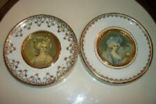 ANTIQUE FRENCH LADY CAMEO PORTRAITS PORCELAIN PLATE FRAMES GILT PARIS APT CHIC