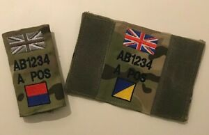 Virtus MTP Vest Badge, Zap Blood Grp TRF Union Jack, Army Military Personalised