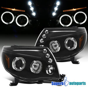 For 2005-2011 Toyota Tacoma LED Halo Projector Headlights Lamps Black