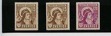 Sweden #326-328 (Sw514) Comp 1941 St Bridget of Sweden, Mnh, Fvf, Cv$65.00