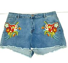 New Ladies Washed Denim Blue Shorts Route 66 Size 16 Floral Embroidery