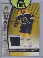 Jakub Forsbacka-Karlsson 2017-18 SP Game Used Authentic Rookies Jersey 064/399