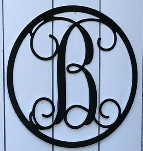 "Metal Vine Monogram Custom Letter Black or White 12"" 16"" 24"" Metal Art"