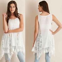 2016 Casual Womens Tops Lace Splicing Sleeveless Loose Irregular Beach Dress LOT