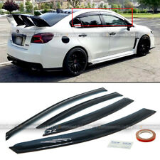 Fits 15-19 Subaru Wrx Sti Jdm Style Black Tinted Trim Window Visor Deflector