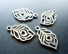 Small Stainless Steel Laser Cut Charms - Feathers - Set of 5