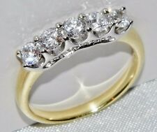 9CT YELLOW GOLD & SILVER 1.00 CARAT 5 STONE ETERNITY RING - size Q