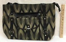 Shoulder Bag Tan and Black Chevron Vinyl Tote Large Purse Oversize Bag Carry On