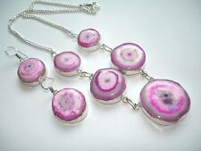 "AB Lilac Pink Solar Quartz Druzy 18"" Necklace 1.5"" Earrings Set .925 Silver"