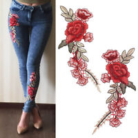 1 Pair DIY Rose Flower Embroidered Patches Sew On Patch Applique For Cloth Craft