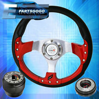 Type-R Red Fusion Style Steering Wheel + Slim Quick Release For 96-15 Civic