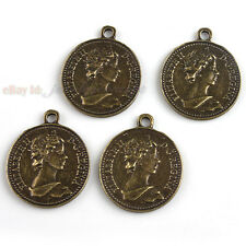 15pcs New Bronze Tone Round Queen Charms Pendants Jewelry Findings Fit Crafts J