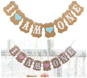 1ST BIRTHDAY I AM ONE BANNER BUNTING GIRL | BOY BLUE HEART OR PINK HEART