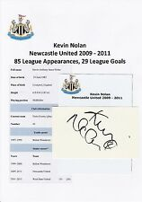 KEVIN NOLAN NEWCASTLE UNITED 2009-2011 ORIGINAL HAND SIGNED CUTTING/CARD