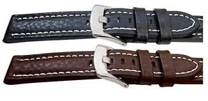 Quality Buffalo Grain Chunky Leather Mens Watch Strap Black Brown 18,20,22,24mm