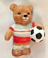 "Brown Homco 2 1/2"" Ceramic Bear Socker Player Figurine"
