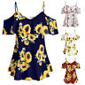 Plus Size Women T-Shirts Sunflower Printed Tops Short Sleeve Cold Shouder Blouse