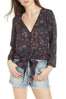 $69 NWOT HINGE WOMEN'S ETHEREAL BLUE FLORAL TIE FRONT TOP SIZE L