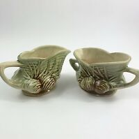 McCoy Pine Cone Creamer Sugar Bowl Ceramic Pottery Porcelain Vintage 1940s