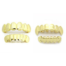 14K Gold Plated Grillz (Top, Fangs & Bottom) w/ Mold Kit 2 Pair SET [Bundle Set]