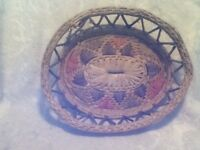 "Basket Mexican Folk Art Latin Decor 14"" Oval Native Coil Woven Pink Green Blue"