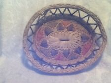 "Mexican Folk Art Latin Decor 14"" Oval Native Coil Woven Pink Green Blue Basket"