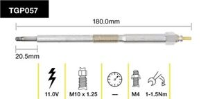 Tridon Glow Plug TGP057 fits Nissan Navara 2.5 Di (D22), 2.5 Di 4x4 (D22), 2....