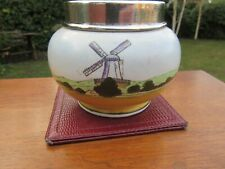 More details for ceramic sugar bowl with silver rim old england sb+s london 1927/28 vgc+