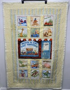 "Handcrafted Crib Baby Girl or Boy Quilt Crib Lap 38"" x 52"" Yellow Toy Shop Theme"