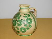 "VINTAGE 7"" HIGH WEST GERMANY HAND PAINTED CERAMIC JUG PITCHER"