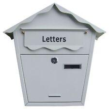 GRANDE IN ACCIAIO BIANCO Post lettera casella di posta con serratura con chiavi parete per esterni